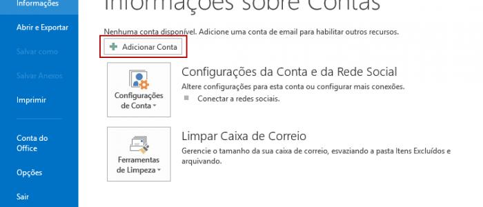 Como configurar sua conta de email no Outlook 2013