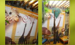 Painel adesivado sob madeira - Ambiente zen - tema Africa