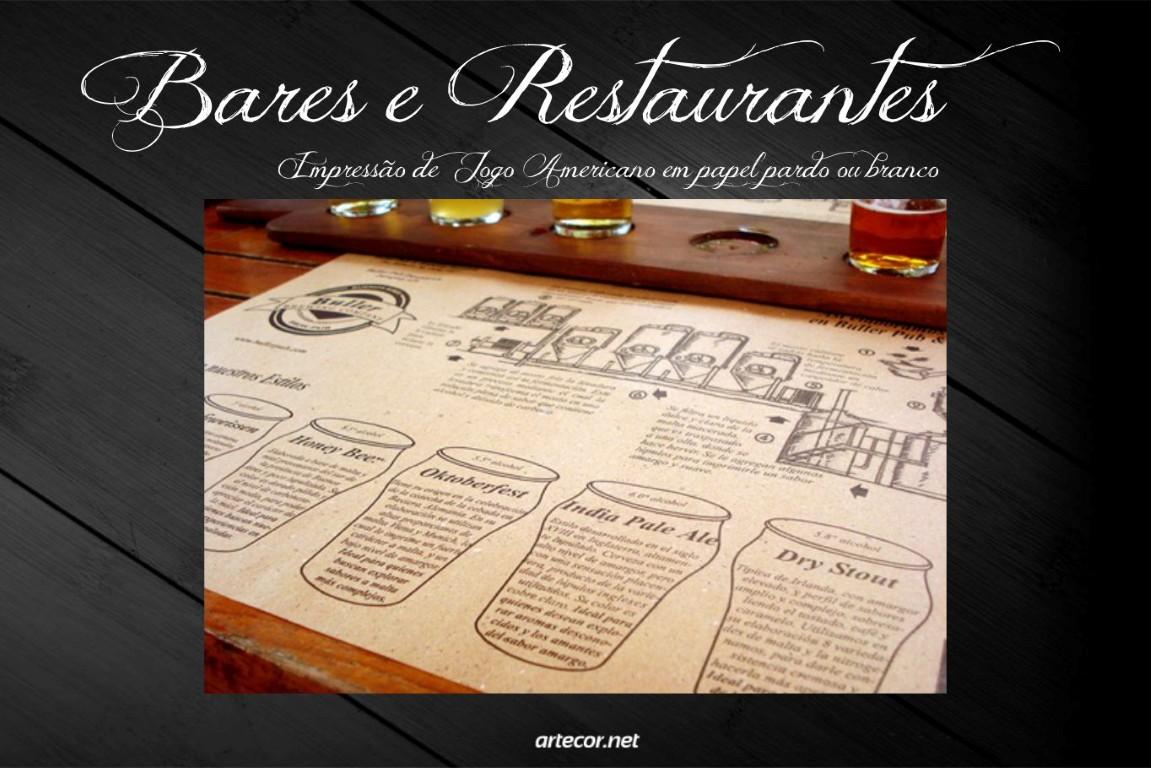 Impressão de Jogo-Americano para Bares e Restaurantes