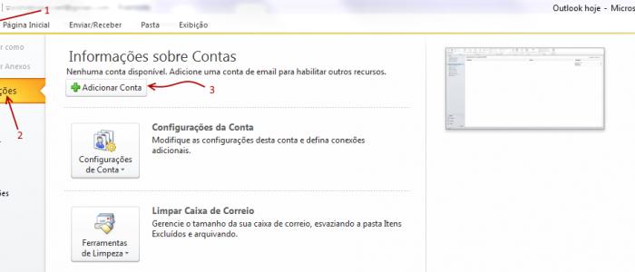 Como configurar sua conta de email no Outlook 2010