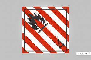 Placa de Simbologia de Risco - Sólido Inflamável Nº 4